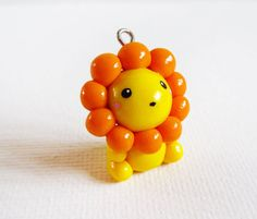 Polymer Clay Cute Kawaii jaune Lion Charm Necklace
