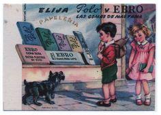 Papel secante con publicidad de gomas Ebro