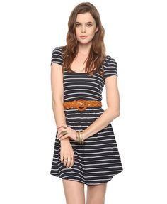Twisted Back Striped Dress | FOREVER21 - 2000040155