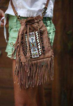 ➳➳➳☮American Hippie Bohemian Boho Feathers Gypsy Spirit Style - Bag .. Leather fringe