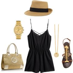 Just the romper & hat. I'd wear different accessories