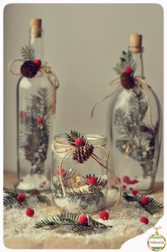 Enchanting 10 Minute snowy tree winter & Christmas DIY table decoration for almost free, beautiful as gifts, farmhouse decor & winter wedding centerpieces! - A Piece of Rainbow Silver Christmas Decorations, Christmas Jars, Christmas Centerpieces, Homemade Christmas, Rustic Christmas, Simple Christmas, Winter Christmas, Wedding Centerpieces, Fall Winter