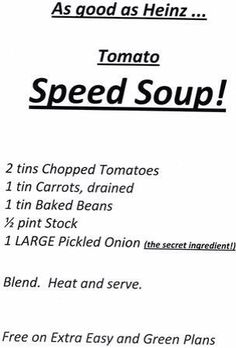 Speed soup Slimming World Diet Plan, Slimming World Dinners, Slimming World Recipes, Speed Soup, Lower Cholesterol Diet, Vegetarian Recipes, Cooking Recipes, Pickled Onions, Baked Beans