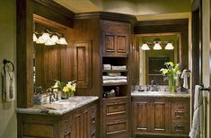 Love this corner area for the bathroom Bathroom Corner Cabinet, Master Bathroom Vanity, Bathroom Bath, Bath Room, Tuscan Bathroom, Corner Vanity, Bathroom Cabinetry, Cabinet Space, Master Bathrooms
