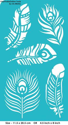"Stencil Stencils Templates ""Feathers, Peacock Feather"", self-adhesive, flexible… Stencil Fabric, Stencil Diy, Stencil Painting, Fabric Painting, Feather Stencil, Bird Stencil, Damask Stencil, Faux Painting, Stenciling"