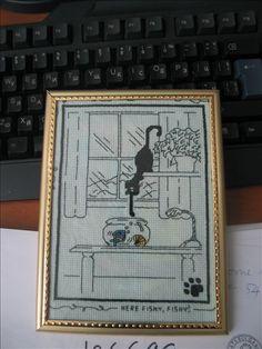 Black cat fishing - Cross stitch and back stitch technique