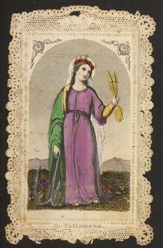 Rare Saint Philomena  antique french holy card handpainted