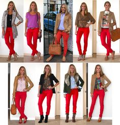 numerous looks for red pants