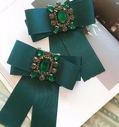 Vintage Fashion Crystal Acrylic Tied Green Bow Brooch Pin  #Handmade