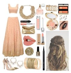 """""""Indian Lehenga Set"""" by harshy-sidhu ❤ liked on Polyvore featuring Gianvito Rossi, Marc Jacobs, Smith & Cult, Limedrop, Bobbi Brown Cosmetics, GUESS, Irene Neuwirth, Topshop, Kevyn Aucoin and Michael Kors"""