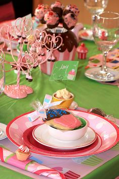 A pretty pink and green tablescape