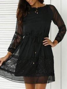 #yoshop.com - #yoshop Stylish Round Neck 3/4 Sleeve Lace Splice Women's Black Dress - AdoreWe.com