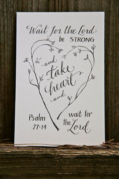 Hand-Lettered Scripture Print - Psalm Psalm 27:14 - Bella Scriptura Collection from Paperglaze Calligraphy