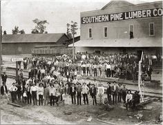 Southern Pine Lumber Company workers at the company store, Diboll, Texas, about Photo courtesy of The History Center, Diboll. Image from Texas Beyond History. Father Images, The Company Store, Texas History, 24 Years, Historical Photos, Farmer, Dolores Park, Pine, Southern