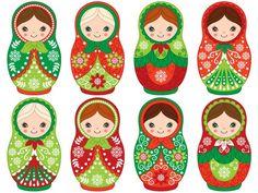 Arts And Crafts, Paper Crafts, Matryoshka Doll, Kokeshi Dolls, Christmas Crafts, Vector Christmas, Clipart, Etsy, Stickers
