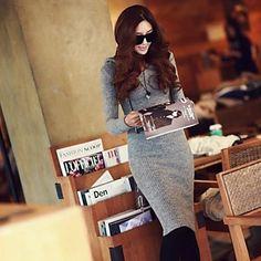 Women's Casual Long Sleeve Hooded Bodycon Dress - USD $ 15.39
