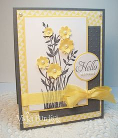handmade card from It's a Stamp Thing: Hello ... gray, yellow, white ... punched flowers with pearl centers ... Stampin' Up!