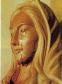 A wooden stature of the Holy Mother Mary with tears. The starure is belong to  a Christian monastry in Akita prefecture, Japan.  This mistic phenomena happened in January, 1975 and repeated for 10 times until it ended in September,1981.