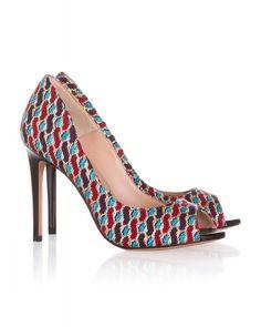 High heel peep toes in printed fabric