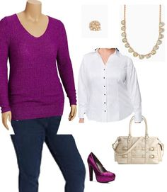 12.2013 - Curvy Personal Shopper: Sweater @ Old Navy Plus; Jeans by Levi's @ Macy's; white button down blouse @ Lane Bryant; Purse by Jessica Simpson @ DSW; Shoes G by GUESS @ DSW;Necklace and Ring @ Charming Charlie's **Note all items can be purchased online