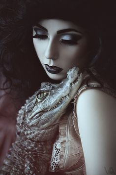 Dreaming. by Victoria Antonova on 500px  #woman #female #portrait #photo #photography #crocodile #dark #fantasy #fine #art