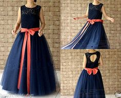 Navy Blue Lace Flower Girl Dress Floor Length with Coral Sash and Bow
