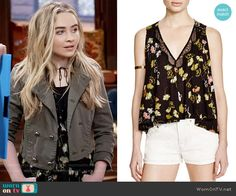 Maya's black floral top on Girl Meets World.  Outfit Details: https://wornontv.net/59906/ #GirlMeetsWorld