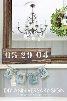 Create your own rustic wooden sign to celebrate an anniversary, birthday, or any other special occasion. Get the full tutorial on this easy DIY painted sign. Rustic Wood Signs, Diy Canvas, Blank Canvas, My Living Room, Diy Painting, Diy Home Decor, Easy Diy, Diy Projects, Crafty