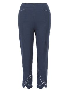 A pair of fitted jersey pants, with interesting hem detailing, an invisible front zipper, and a top stich detail at pockets and ankle. Made in the U.S.A. Sweatpants, Pairs, Zipper, Ankle, Pockets, Detail, Fitness, Clothes, Tops