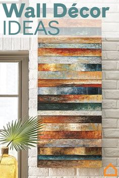 love these colours and these boards. Wall décor is an easy way to upgrade any space. Add mirrors, clocks, canvas art and more to create a cohesive feel for your home. Boho Decor Diy, Diy Home Decor Rustic, Easy Home Decor, Farmhouse Decor, Wood Wall Art, Wall Décor, Tree Wall, Ideias Diy, At Home Store