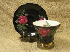 Royal Albert Dark Red Roses on Black Tea Cup and Saucer | eBay