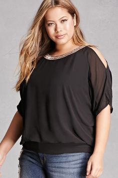 Forever 21+ - A woven top by Soieblu™ featuring an embellished round neckline with a button closure, short dolman sleeves with open-shoulders, a V-back cutout, a partial smocked hem, woven lining, and a sheer overlay.