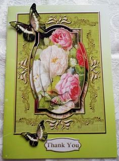 Cardtopper so in love with roses 299 on Craftsuprint designed by Gertraud Lueckel - made by Sharon Wilson - Printed on photo paper and cut out pieces. Put main sheet on green background. Added deco layers with foam pads. A very pretty design sheet by Gertruad Lueckel cup617019_2166 - Now available for download!