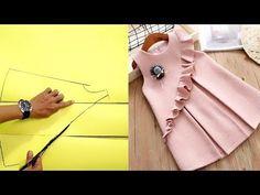 Simple kids dress (Pattern making) Summer Dress Patterns, Baby Girl Dress Patterns, Dress Sewing Patterns, Frocks For Girls, Little Girl Dresses, Girls Dresses Sewing, Dress Anak, Baby Dress Design, Baby Frocks Designs