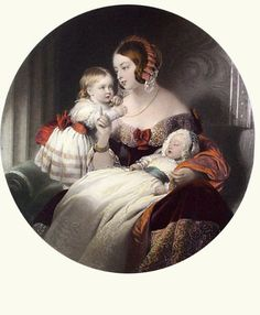 The young Queen Victoria with her two eldest children, Princess Victoria, the Princess Royal, and Prince Albert, later King Edward VII.