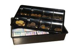 Műanyag kassza - Strauss Metal 2 részes: papír- és aprópénz számára 8 rekeszes aprópénz-tároló