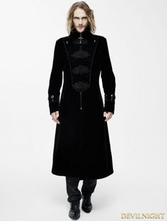 Black Velvet Chinese Knot Gothic Vintage Long Jacket for Men