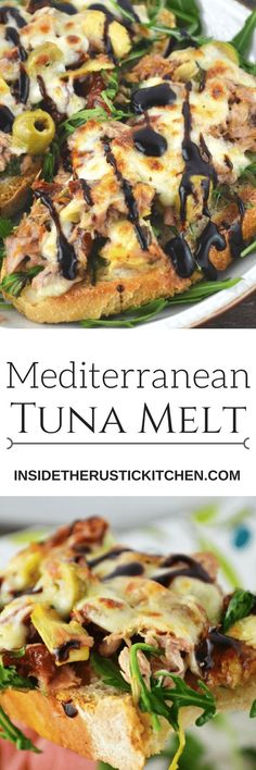 This is the best tuna melt I've ever tasted! With a Mediterranean twist of artichokes, sun dried tomatoes and olives topped with mozzarella cheese and balsamic glaze. It's so delicious you'll love it http://www.insidetherustickitchen.com