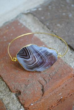 "Perfect for tiny wrists!!! Handmade, creamy, brown, and white faceted agate with a gold plated edge.  This ""cafe au lait"" cuff fits a petite wrist that is 6"" or smaller.   bricksandbaubles.com"