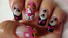 Pink Panther nail art...... ♥ this!