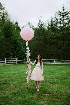 Tissue Fringe Garland Balloon Tassel by PaperwhiteDesigns on Etsy, $25.00