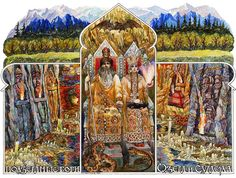 All Slavic gods , who were part of the ancient pagan pantheon of gods were divided into solar (four incarnation of the god of the sun) and functional gods .