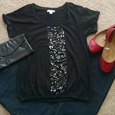 Black Sequins Panel Cotton Top Loft excellent used condition black short sleeve top with sequin panel on front. Elastic at the waist and decorative from at the neck line. LOFT Tops Tees - Short Sleeve