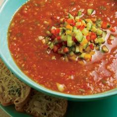 To make our gazpacho, simply throw together your farmers market favorites such as peppers, tomatoes, cucumbers and onions, and blend them into a chilled soup.