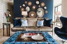 Marine-Blau Inspirationen für den Frühling | Blau und golden Möbel | samt sofa | wohn-designtrend.de/