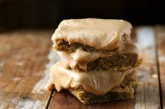 Banana Blondies with Creamy Peanut Butter Frosing -  Talk about dreamy! Try these amazing frosted peanut butter-infused banana blondies.