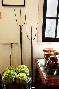 Antique farm tools as decoration.