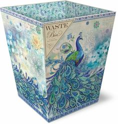 Paisley Peacock Waste Bin ♥ so pretty! Peacock Decor, Peacock Colors, Peacock Art, Peacock Theme, Peacock Design, Peacock Room, Purple Bathrooms, Peacock Bathroom, Peacock Bedding