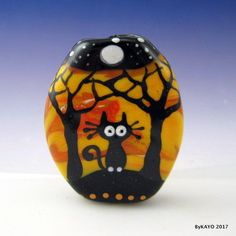 """""""THE FOREST AT NIGHT"""" byKAYO a Handmade SCARED CAT Lampwork Glass Focal Bead SRA #Lampwork"""