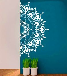 Mandala Wall Decal Aufkleber halbe MandalaYoga Om Namaste Yoga Dekor Wandtattoo Lotus Interior Home Decor Meditation Mandala Wand Kunst Wand - Wandkunst Mandala Design, Mandala Art, Lotus Mandala, Mandala On Wall, Easy Mandala, Mandala Meditation, Wall Art Designs, Paint Designs, Wall Design